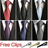 Jeatonge Lot 6 Pcs Mens Ties and 3 Free Tie Clips, Men's Classic Tie Necktie Woven Jacquard Neck Ties Gift box packing (Style 16)