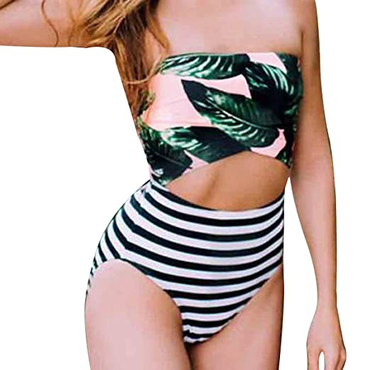 f3a0cde78f LAPAYA Women s Bathing Suit Cut Out Tropical Printed Low Back One Piece  Swimsuit