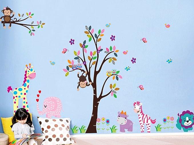 85 opinioni per ufengke® XLarge Albero Colorato e Cartoon Animali Adesivi Murali, Lovely Giraffe