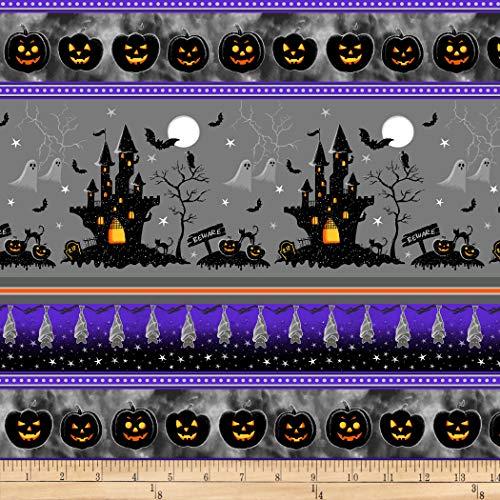 Henry Glass Metallic Hocus Pocus Halloween Stripe Gray Fabric by the Yard