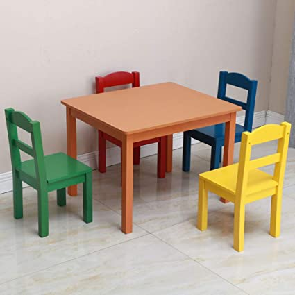 Amazon.com: Zipperl Kids Table and Chair Set, Children Wood ...