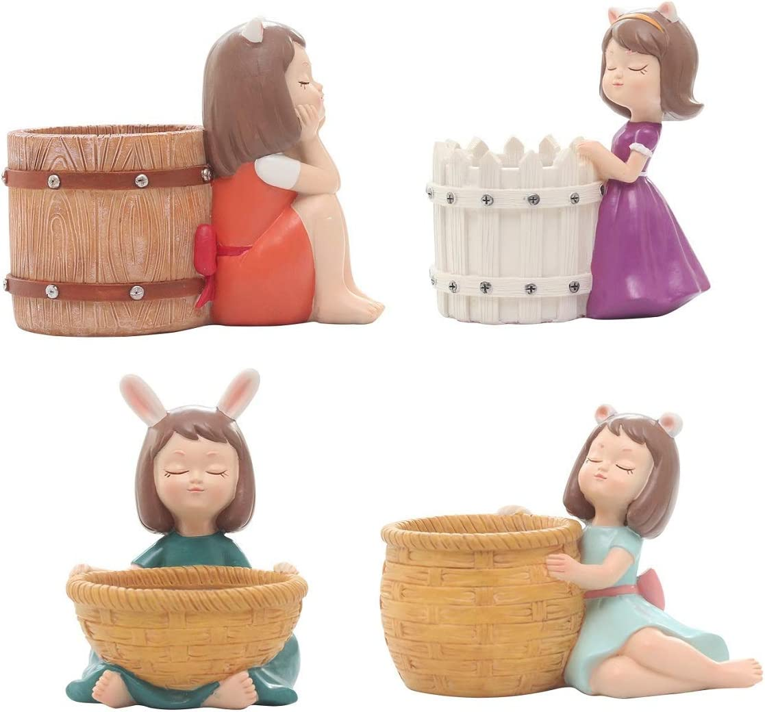 Youfui Creative Succulent Pots Girls Flowerpot Resin Succulent Planter Home Office Mini Plant Holder Garden Pot School Gift- 4pcs Idyllic Girls