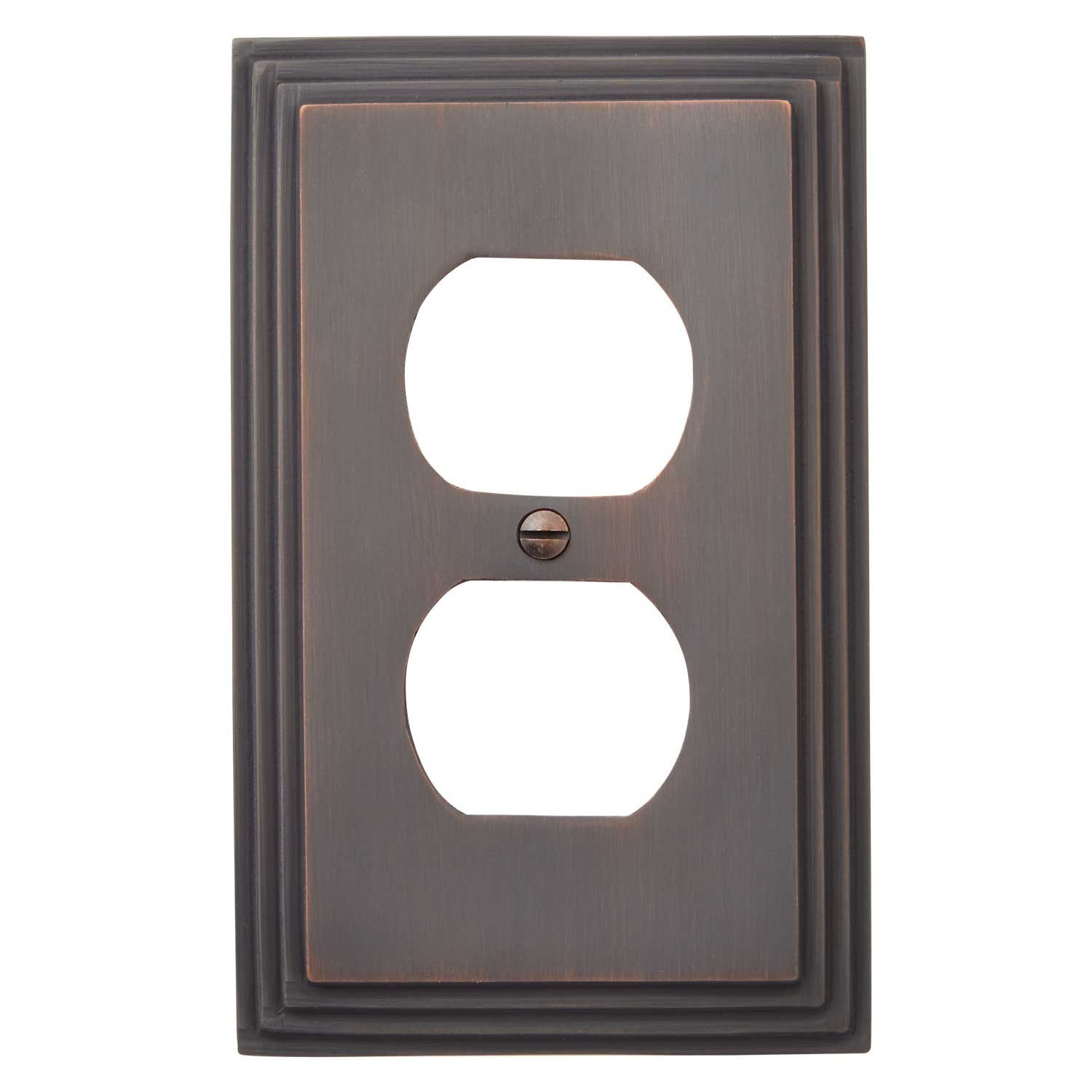 Naiture Deco Design Solid Brass Single Duplex Outlet Cover, Wall Plate, Switch Plate, Oil Rubbed Bronze Finish