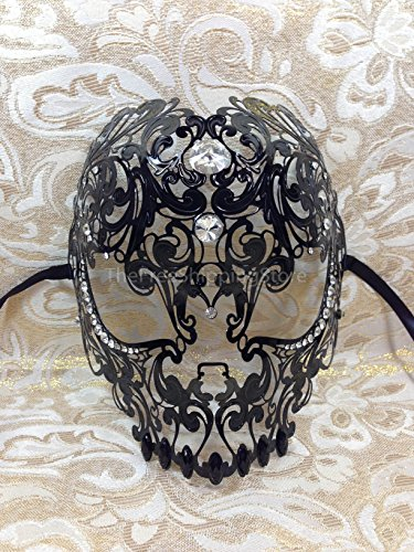 [Black Monsters Metal Laser Cut Venetian Masquerade Mask] (Rave Monster Costume)
