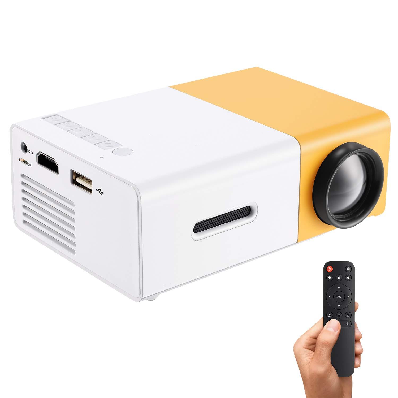 Gunor ミニプロジェクター YG300 ポータブル LEDプロジェクター PC ノートパソコン USBスティック USB/SD/AV/HDMI入力 ビデオ/ムービー/ゲーム/ホームシアター ビデオプロジェクター用 子供へのギフトに最適 イエロー B07RJZG3XF