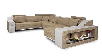 Stoff Sofa Couch Wohnlandschaft Xxl U Form Sandbeige Creme Ecksofa