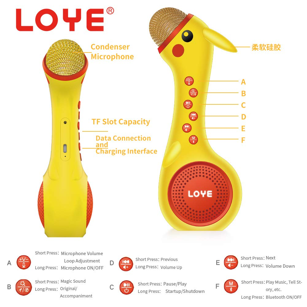 LOYE Wireless Bluetooth Karaoke Microphone Magic Sound for Kids Toddles Baby Child Children 2 in 1 Portable Handheld Home Party Speaker with TF Card Birthday New Year by LOYE (Image #4)