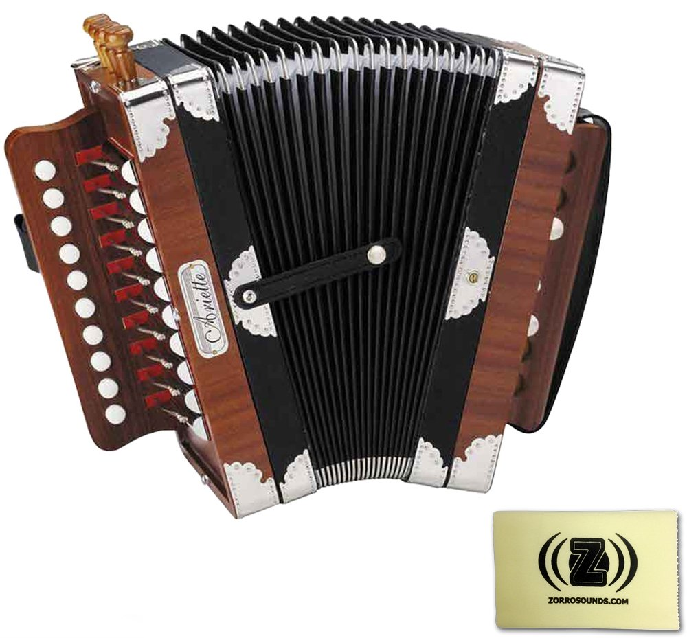 Hohner Cajun Style Arietta Accordion (Natural Brown) Bundle with Custom Designed Zorro Sounds Cleaning Cloth