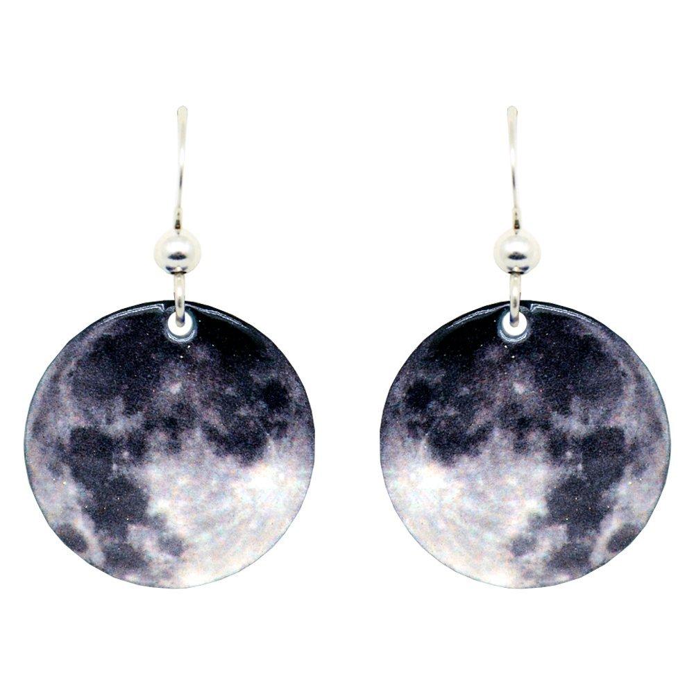 Moon Earrings by dears Non-Tarnish Sterling Silver French Hook Ear Wire