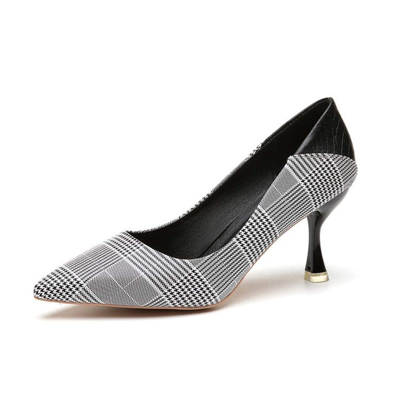 Owen Moll Women Pumps, Pointed Toe Cotton High Heel Party Wedding Sheepskin Inside Shoes