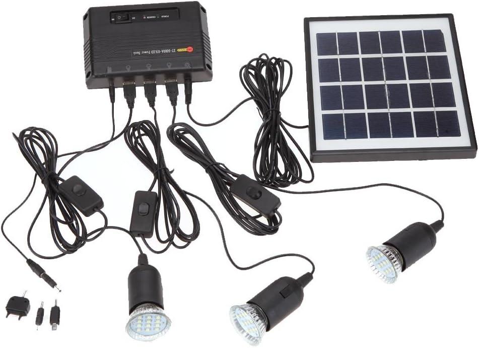Docooler 4W Kit de Panel Solar propulsado, 3 Bombillas LED, USB, 5 V Cargador de Teléfono Sistema Casa Kit, Jardín Camping Pesca