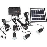 Docooler 4W Kit de Panel Solar propulsado, 3 Bombillas LED, USB, 5 V Cargador de Teléfono Sistema Casa Kit, Jardín…