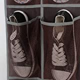 Rerii Hanging Shoes Organizer 24 Large Mesh Pocket, 3 Stainless Steel Hook, Over Door Shoes Rack Organizer Storage