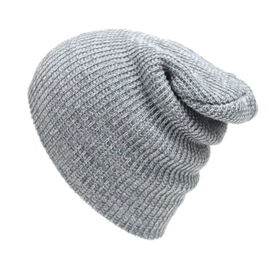 7f1018ba375f5 Abbyling68 Slouchy Winter Hats Knitted Beanie Caps Soft Warm Ski Hat Grey  at Amazon Men s Clothing store