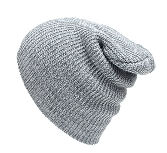 9715f8ed119 Abbyling68 Slouchy Winter Hats Knitted Beanie Caps Soft Warm Ski Hat Grey