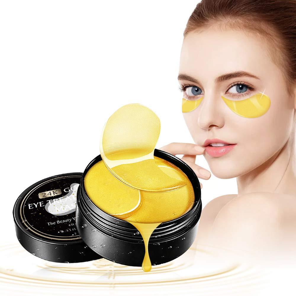Under Eye Patches,24K Gold Anti-Aging Collagen Gel Eye Mask for Puffy Eyes Bags Dark Circles Wrinkles Vegan All-Natural Gel Treatment Pads 60 Pcs