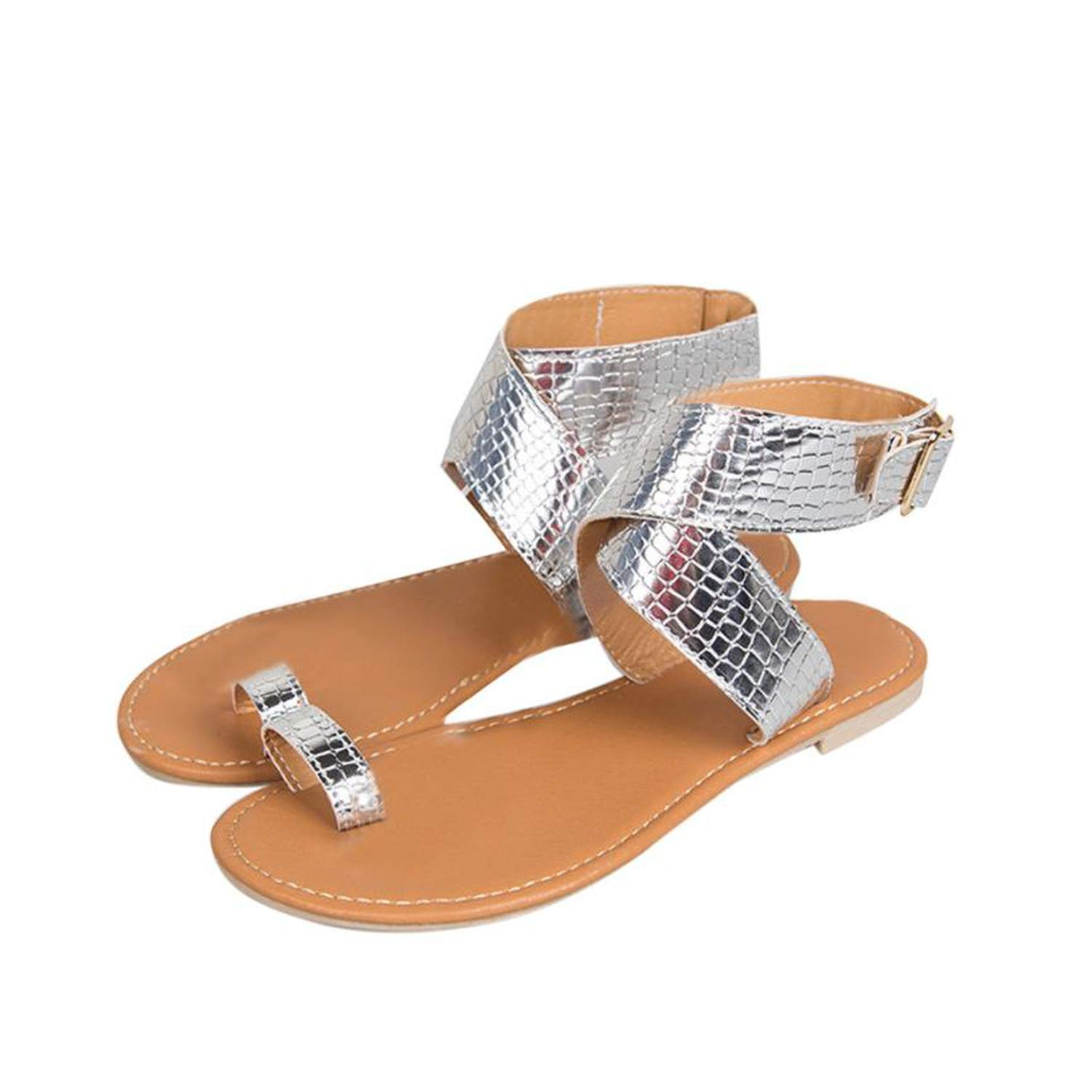 - WEPROI Women Cross Belt Rome Strappy Gladiator Low Flat Flip Flops Beach Sandals shoes,gold1,6.5,United States