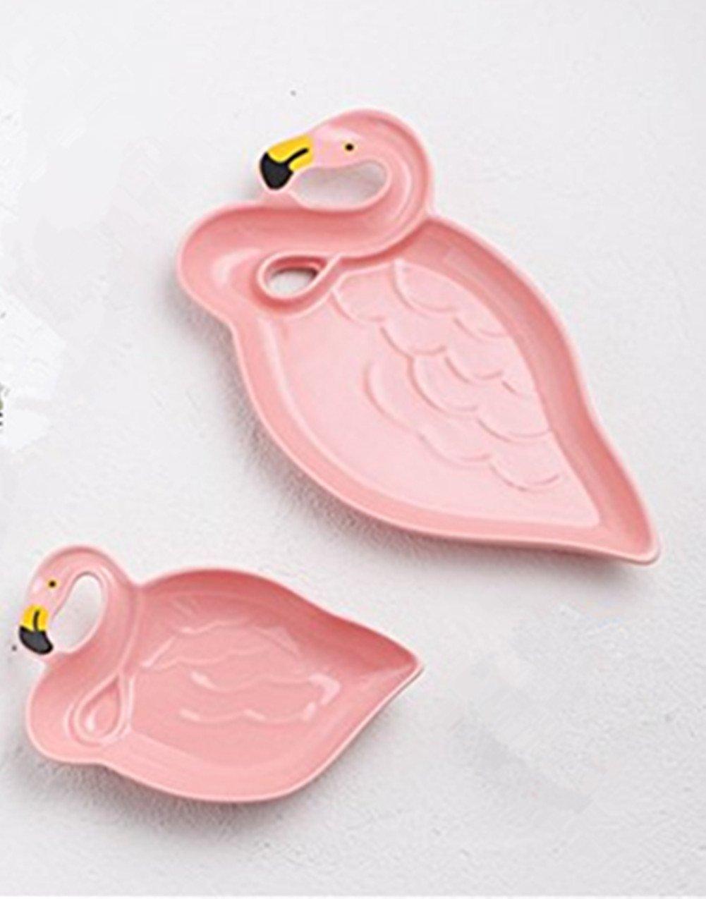 Strand Party 2 Packung 2 Packung HomeYoo Porzellan Pink Flamingo Salat-Dessert Teller Keramik Dinner Plate Snack Tray f/ür zu Hause Geburtstag
