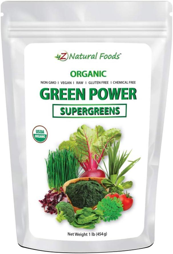 Organic SuperGreens Green Power - All Natural Vegetable Superfood Mix - Barley Grass, Wheatgrass, Spirulina, Spinach, Broccoli, Alfalfa Leaf, Beet Root, Tomato, Dulce & Moringa - Raw, Vegan, No Gluten