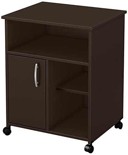 South Shore 1 Door Printer Stand With Storage On Wheels, Chocolate