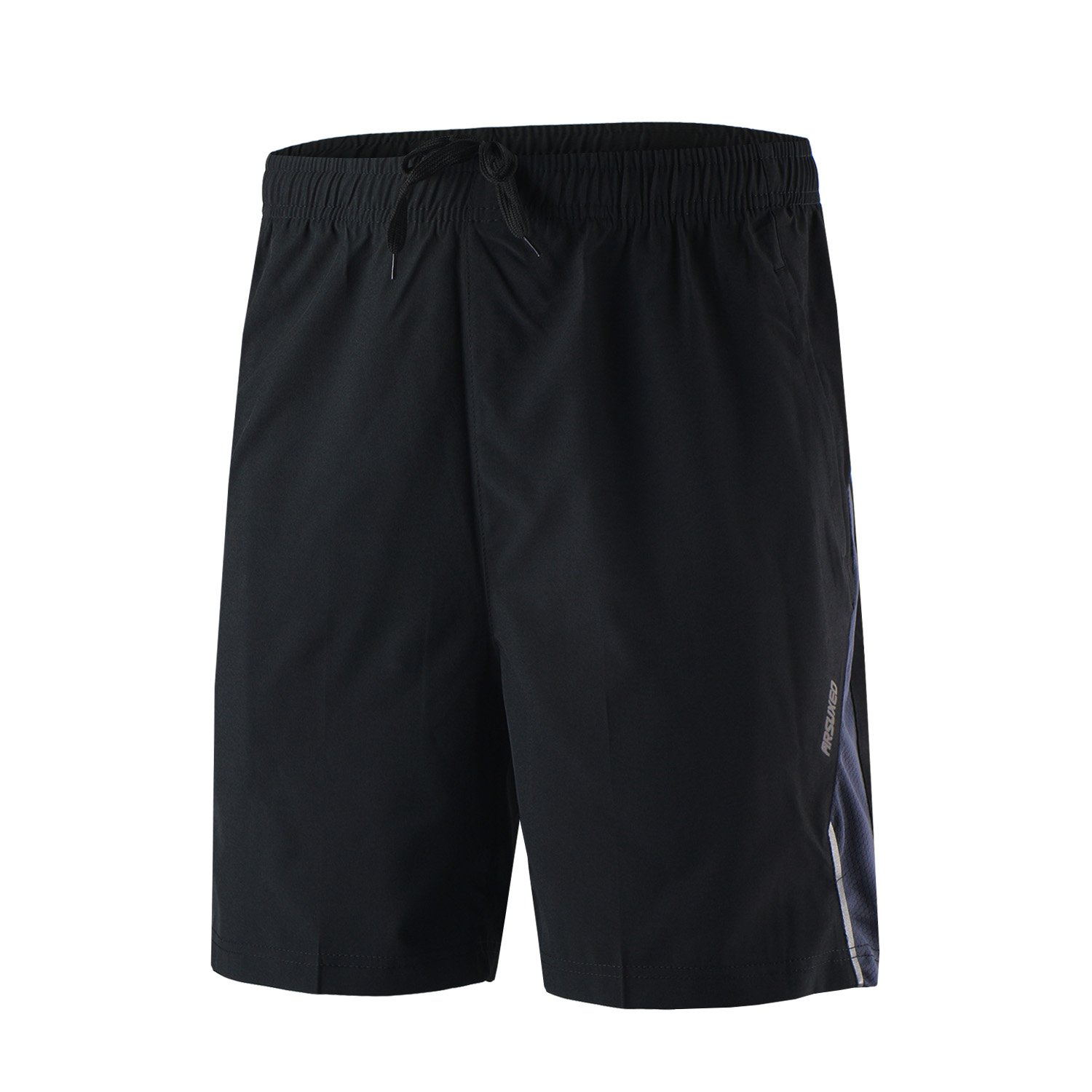 TOFERN Men's Baggy Reflective Running Workout Training Gym Sports Shorts with Zip Pockets