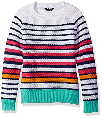Tommy Hilfiger Girls' Big Pullover Fashion Sweater, White, Small