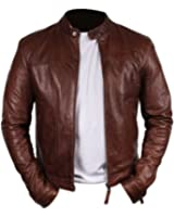 Bomber Rider Slim Fit Casual Stylish Chocolate Brown Real Leather Jacket