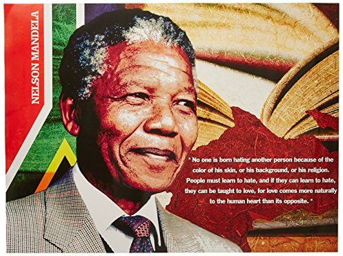 Mandela Photo Nelson (777 Tri-Seven Entertainment Nelson Mandela Poster No One is Born Hating Another Person Art Print, 24