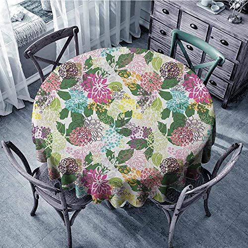 - ScottDecor Food Round Tablecloth Table Cover Floral,Vibrant Flower Bouquet Botanical Beauty Artistic Blooms Inspiration Lifestyle Image, Multicolor Diameter 54