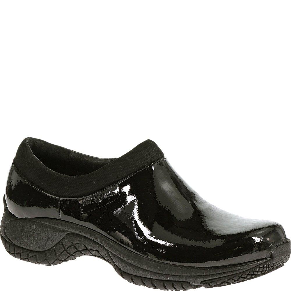 Merrell Women's Encore Moc Pro Shine Slip-Resistant Work Shoe, Black Patent, 6 M US