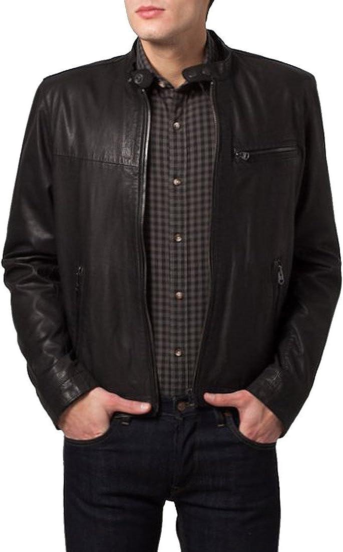 Mens Genuine Lambskin Leather Jacket Slim Fit Moto Biker Jacket T378