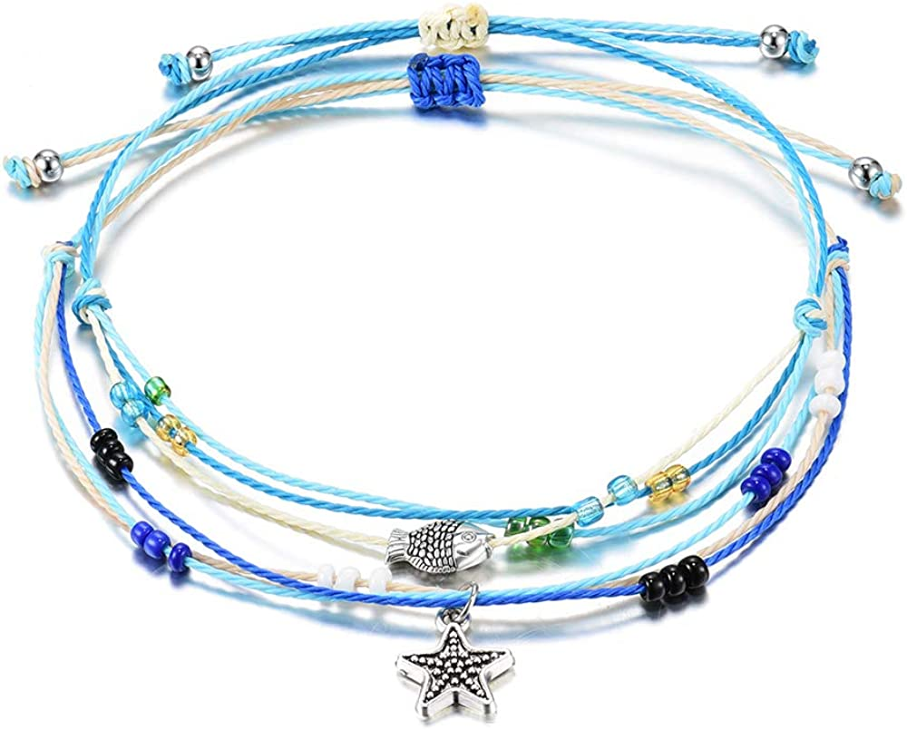 Jeka Boho Blue Starfish Turtle Anklet Multilayer Charm Beads Handmade Anklet Foot Jewelry for Women Girl