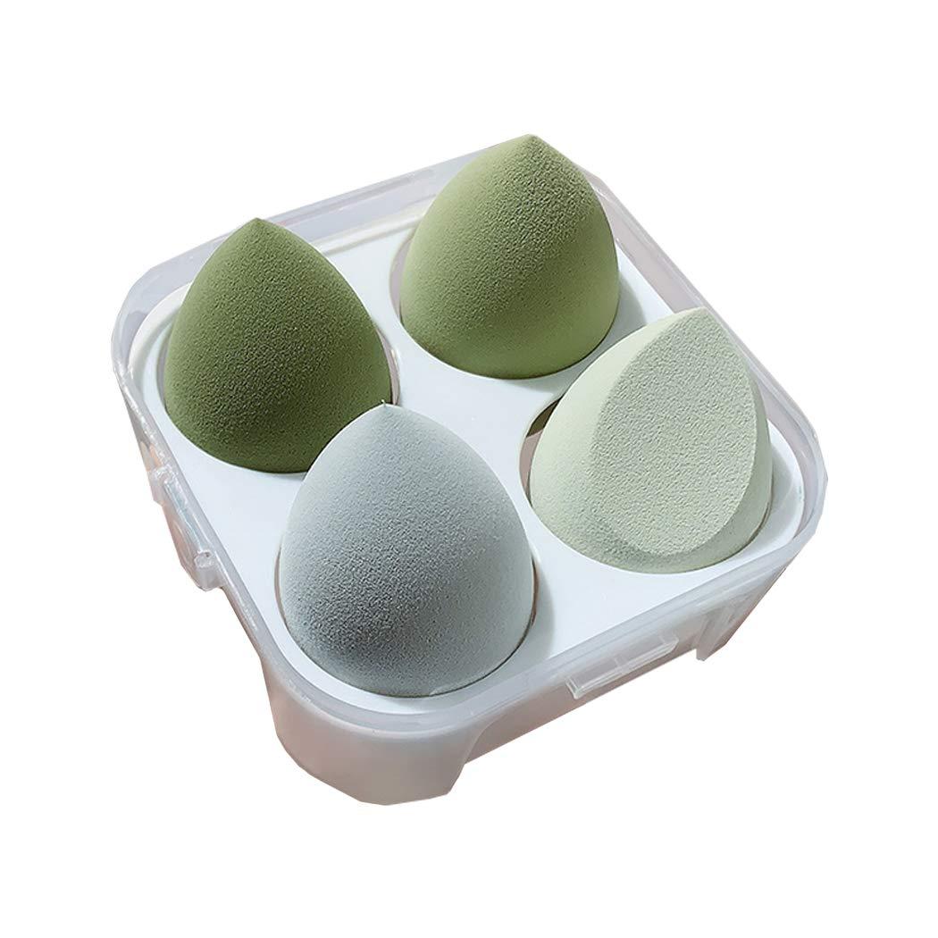 Yuyongtai 4Pcs Makeup Sponge Set Blender Multi-colored Beauty Foundation Blending Sponge for Liquid, Cream, and Powder Dry & Wet Use Makeup Sponge Egg(Green)