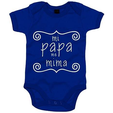 Body bebé Mi papa me mima - Azul Royal, 6-12 meses: Amazon.es: Bebé