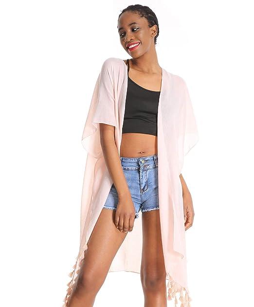 4f08f8389d1d3 Women Floral Kimono Swimsuit Cover Up Cardigan - Red Long Chiffon Print  Swimwear Beach Bathing Bikini