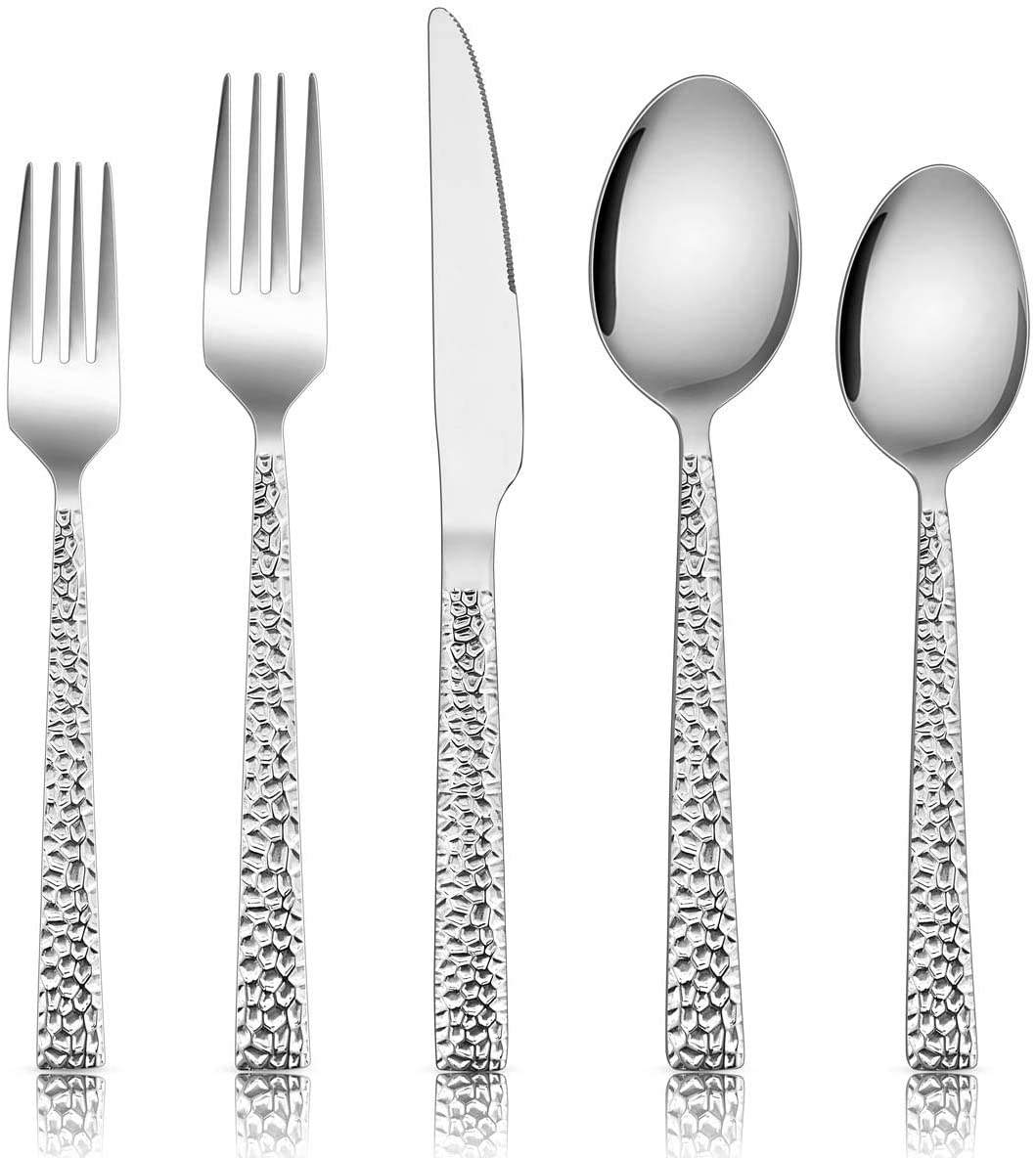 Hammered Silverware Set, E-far 40-Piece Stainless Steel Square Flatware Set for 8, Metal Tableware Cutlery Set Includes Dinner Knives/Forks/Spoons, Modern Design & Mirror Polished - Dishwasher Safe