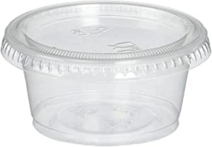 Reditainer Plastic Disposable Portion Souffle, 2 Ounce Count, Package of 100 Cups With Lids