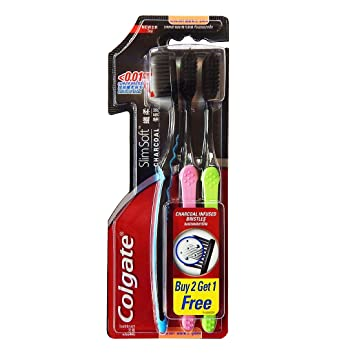 Colgate Slimsoft Charcoal Toothbrush - Set of 3