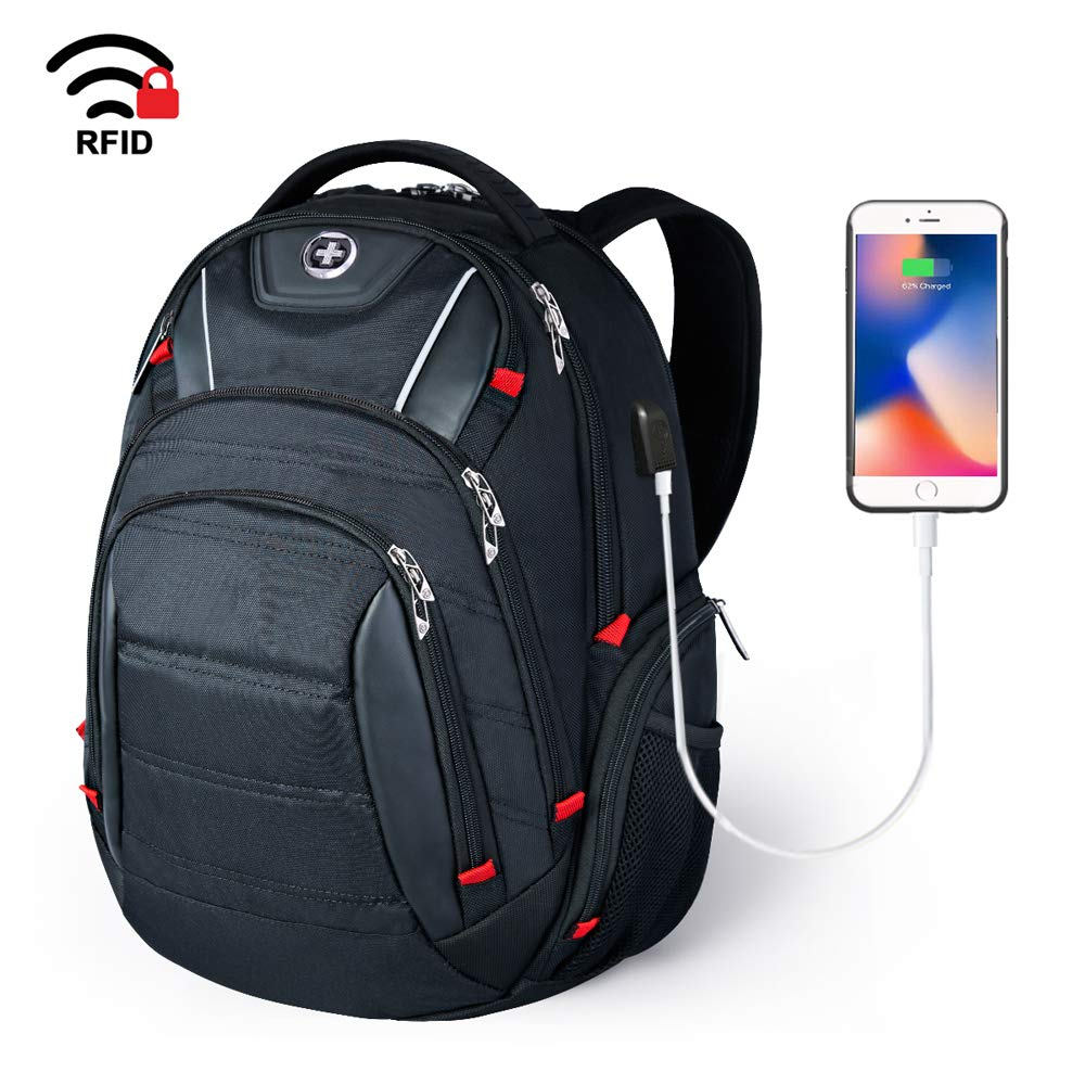 Laptop Backpack,Swissdigital Busniess Travel Polyester Backpack with USB Charging Port and RFID Protection Fits Under 15-Inch Laptop and Notebook for Man, Black by Swissdigital