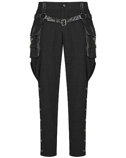 41a7a529ba Punk Rave Mens Steampunk Military Pants Black Hip Bag Riding Trousers  Breeches: Amazon.co.uk: Clothing
