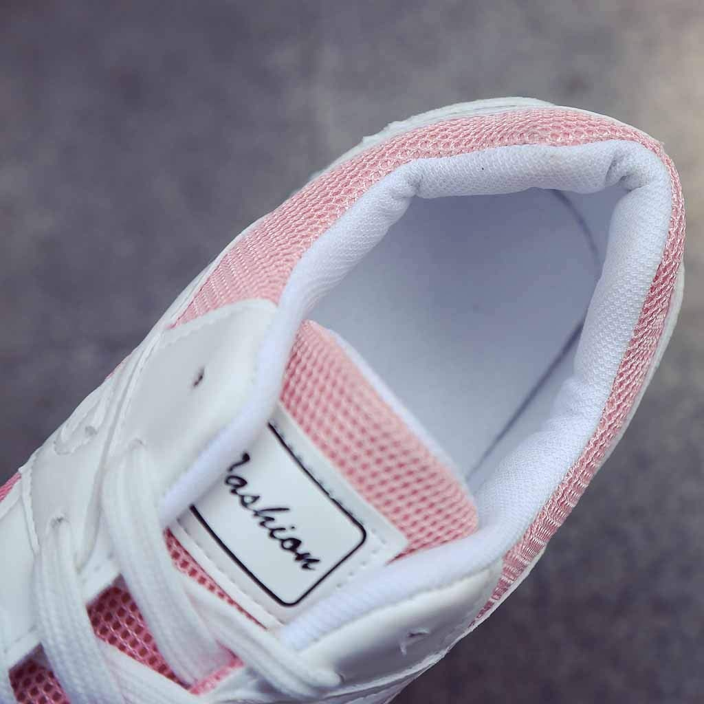 Student Running Shoes Girls Breathable Lace-Up Colorblock Sports Shoes Mesh Sneakers