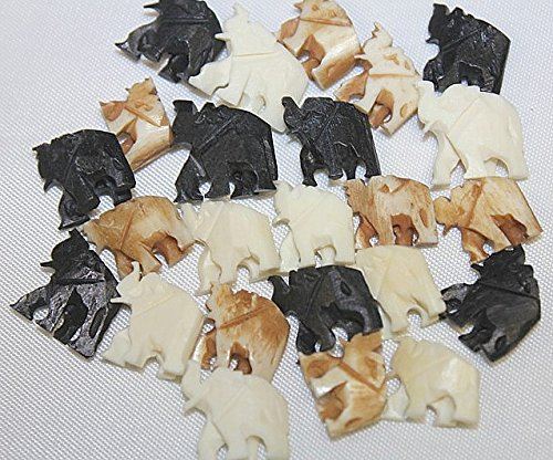Hand Crafted Bone Beads - Unique Carved 12mm-13mm Bone Elephant - Assorted 3 Colors - Total 24 Pieces Per Package