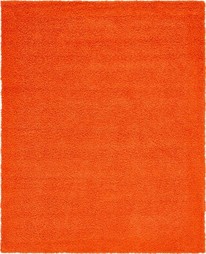 Unique Loom Solo Solid Shag Collection Modern Plush Tiger Orange Area Rug (8' 0 x 10' 0)