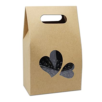 Kraft Paper Take Out Container Handle Box Cupcake Candy Bakeware Wrapping  Merchandise Decorative Paperboard Treat Gift Paper Cardboard Boxes