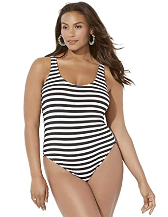 d761968d732e0 Swimsuits for All Women s Plus Size Ashley Graham Hotshot Striped Ribbed  Swimsuit at Amazon Women s Clothing store