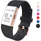 Wearlizer For Fitbit Charge 2 Bands Accessories, Silicone Replacement Strap For Fitbit Charge 2 Special Edition Lavender Rose Gold Buckle Great Match For Rose Gold Fitbit Charge 2