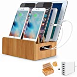 Natural Bamboo Phone/Pad Charging Station Docks Multi-device Cords Organizer Stand Phone Holder With 6 Port USB Charging Hub