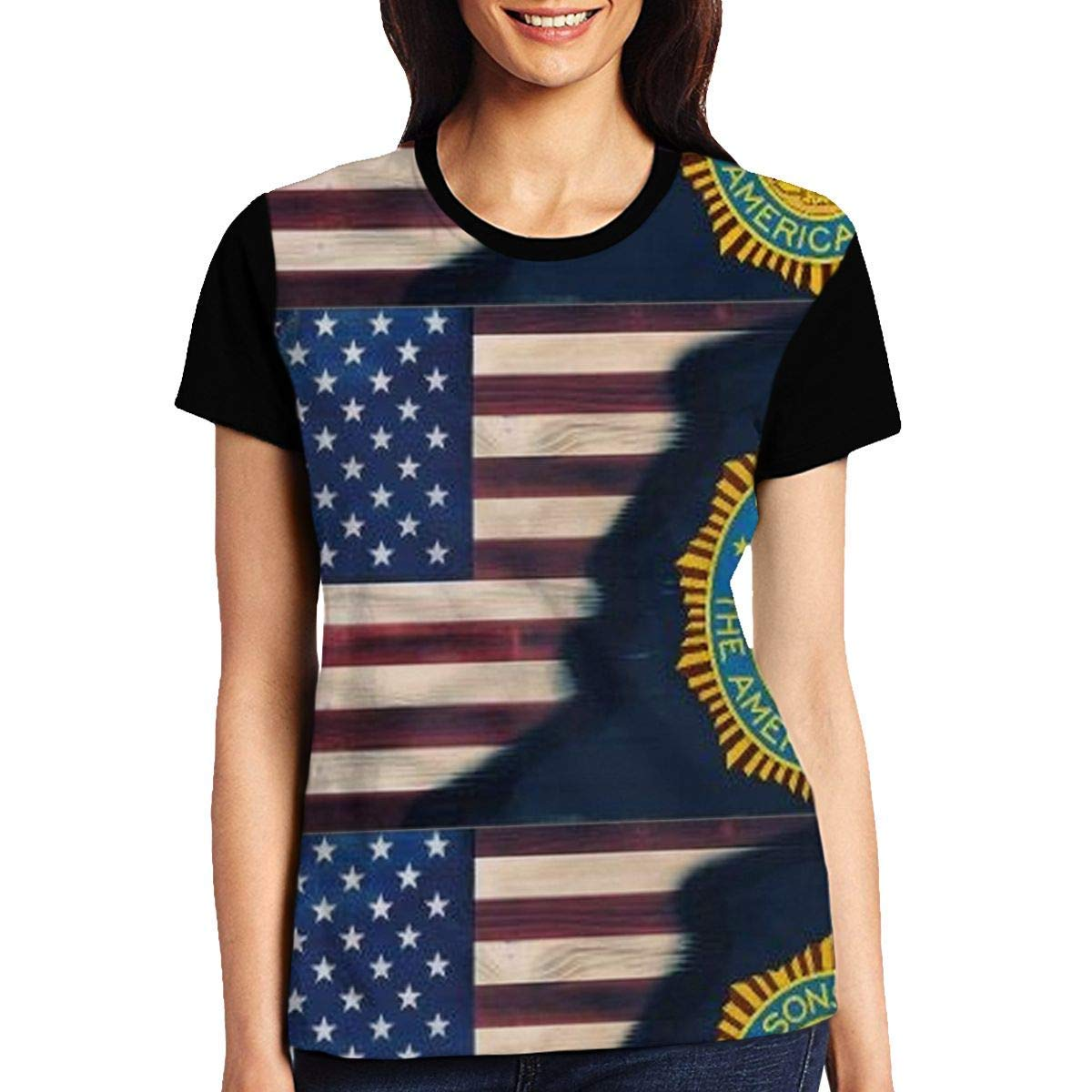 Womens American Legion Hedging Short-Sleeve Crewneck T-Shirt Print Tees Shirt Short Sleeve T Shirt Blouse Tops