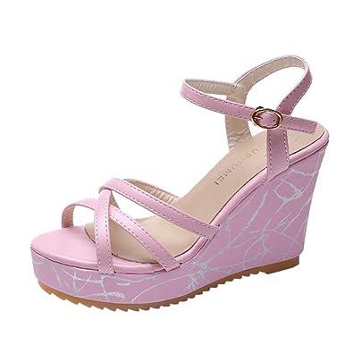 Ansenesna Sandalen Damen Leder Sommer Keilabsatz Plateau Wedge Peep Toe Elegant Sommerschuhe Knöchel Schnalle Offen Schuhe Größe 35 40
