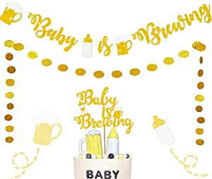 JeVenis Set of 3 Baby Is Brewing Banner Baby Is Brewing Cake Topper Baby Is Brewing Decoration Baby Brewing Banner Beer And Babies Shower Decoration Baby Gender Reveal Decoration